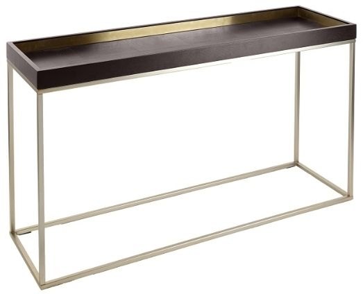 RV Astley Alyn Console Table - Satin Champagne and Warm Chocolate