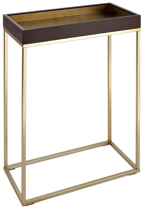 RV Astley Alyn Small Console Table - Satin Champagne and Warm Chocolate