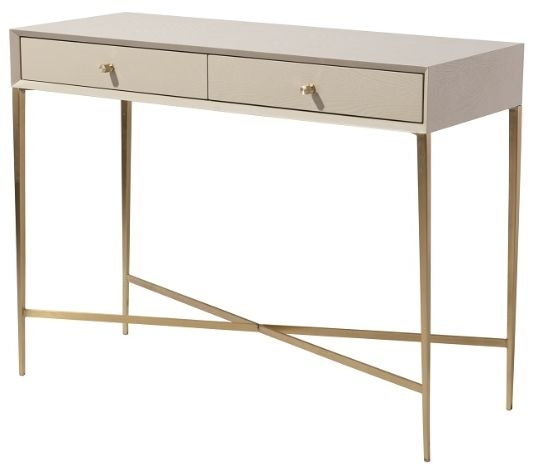 RV Astley Finley 2 Drawer Console Table - Ceramic Grey and Antique Brass