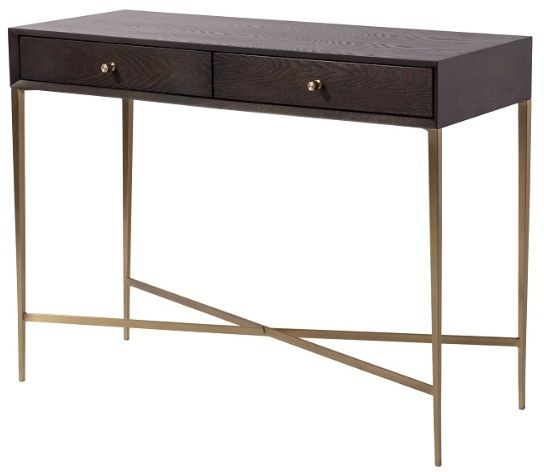 RV Astley Finley 2 Drawer Console Table - Warm Chocolate and Antique Brass