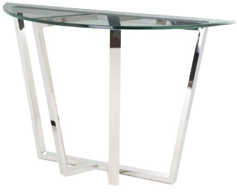 RV Astley Brenzette ss Tempered Glass Half Moon Console Table