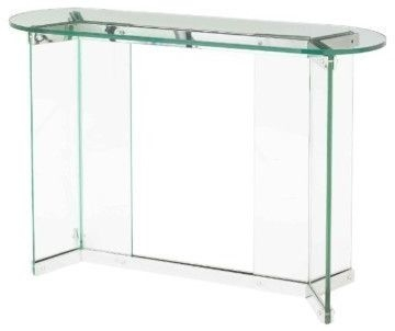 RV Astley Bruna Glass and Stainless Steel Console Table