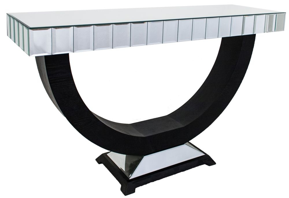 RV Astley Black and Bevelled Plain Mirrored Console Table
