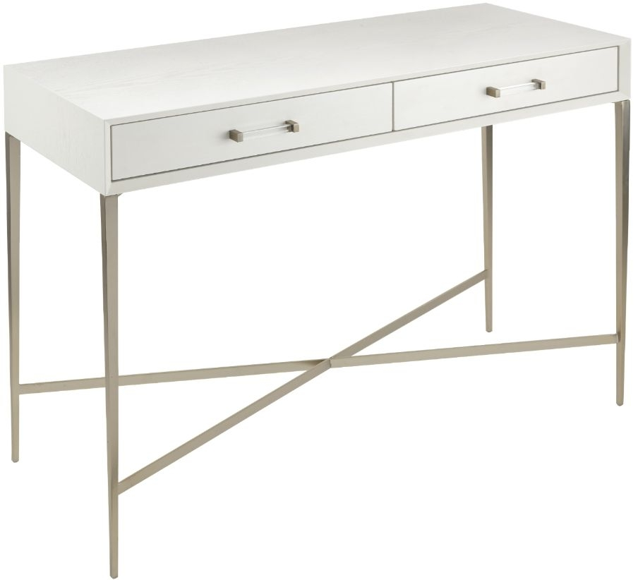 RV Astley Dana White Oak and Champagne 2 Drawer Console Table