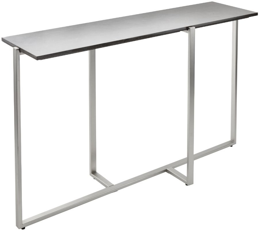 RV Astley Enda Caviar Marble and Brushed Nickel Metal Console Table
