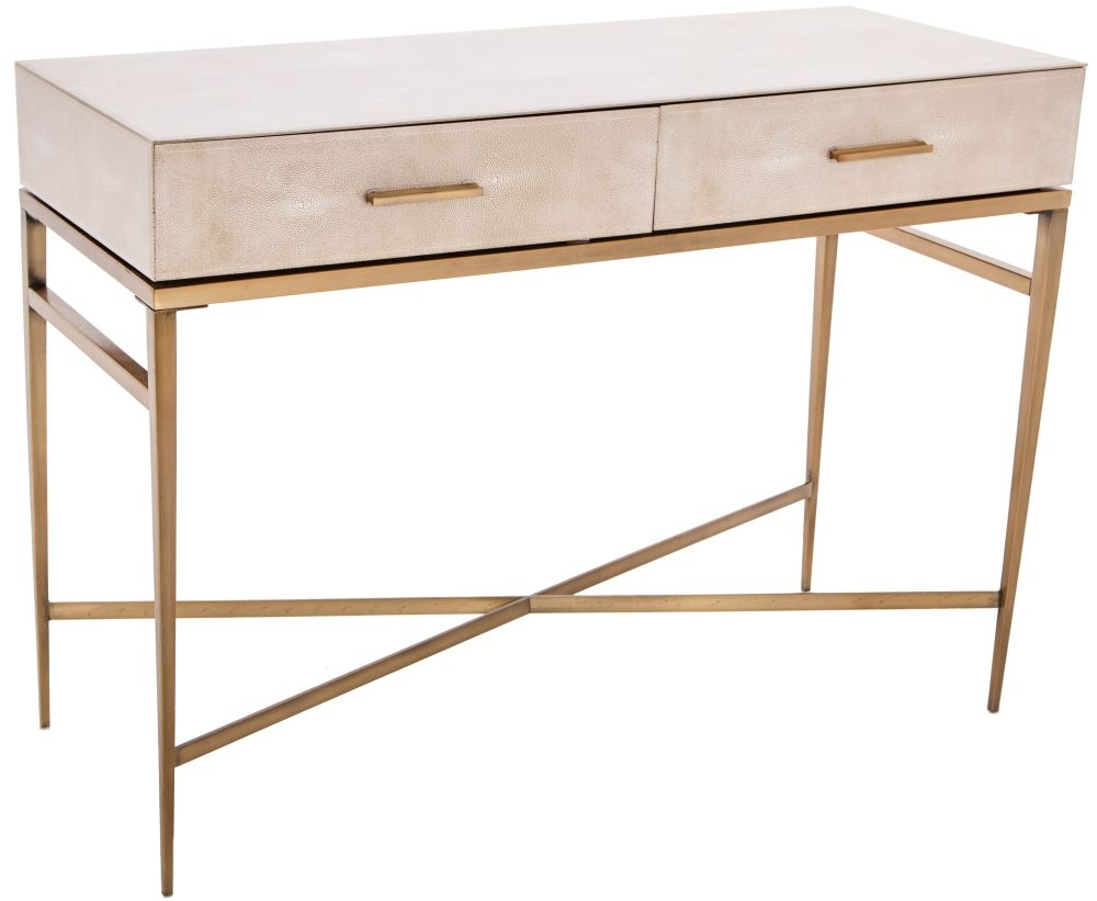 Buy Rv Astley Esta Biscuit Shagreen 2 Drawer Console Table