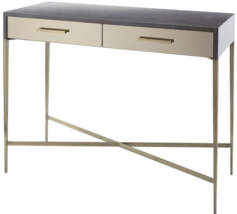 RV Astley Tabley Antique Brass And Dark Grey 2 Drawer Console Table