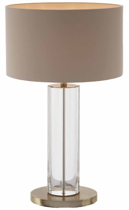 RV Astley Favelle Tall Brass Table Lamp Clear and Antique Brass