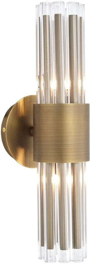 RV Astley Colmar Antique Brass and Clear Glass Wall Lamp