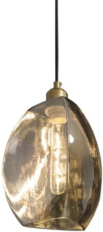 RV Astley Talence Antique Brass and Smoke Glass Pendant
