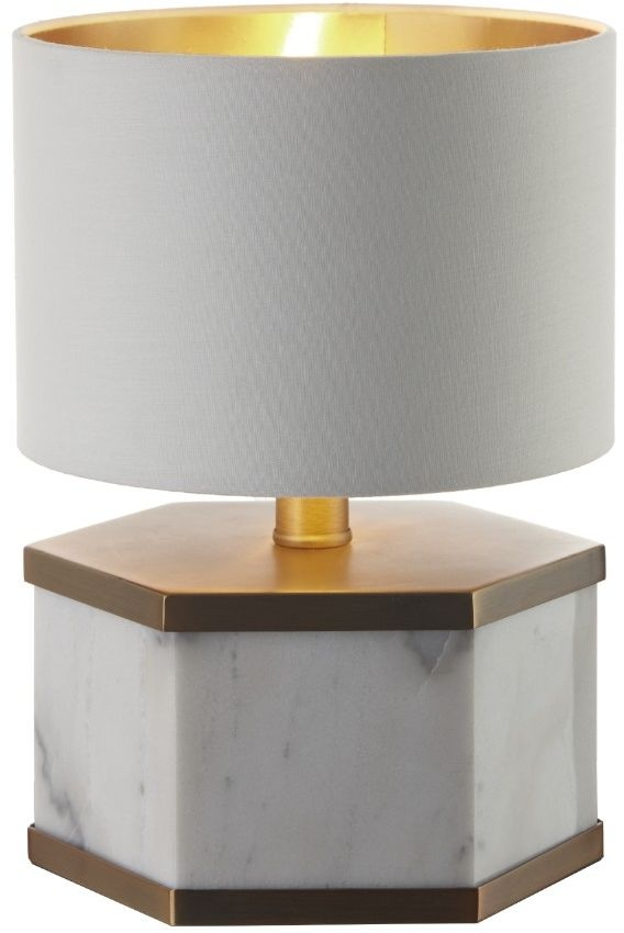 RV Astley Lawley Hexagonal Table Lamp - Marble and Antique Brass