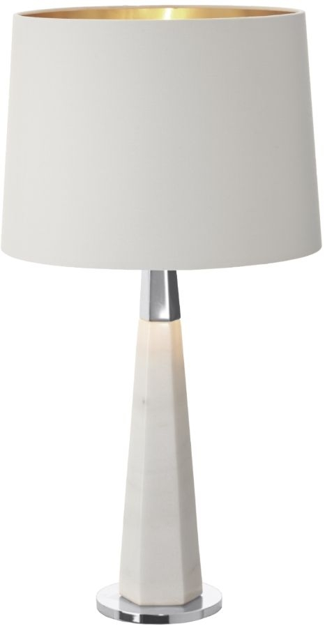 RV Astley Vox Table Lamp - White Marble and Brushed Nickel