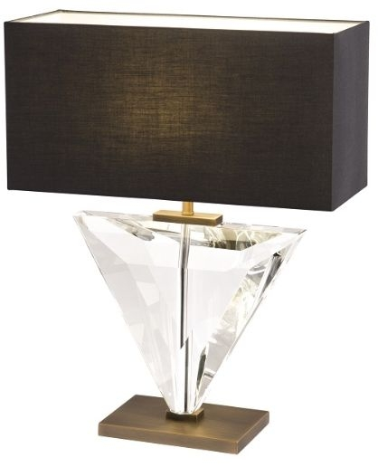 RV Astley Caitlin Table Lamp - Clear Glass and Antique Brass