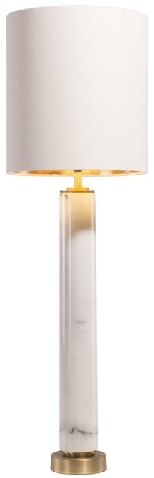RV Astley Darick Table Lamp - White Marble and Antique Brass