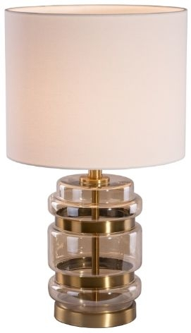 RV Astley Fay Table Lamp - Amber Glass and Honey Brass