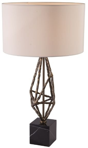 RV Astley Lyra Table Lamp - Black Marble and Antique Brass