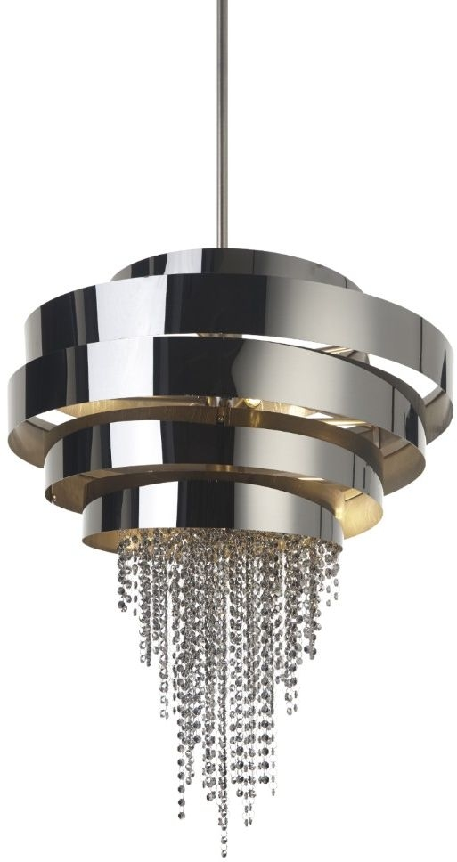 RV Astley Chancey Pendant Light - Black Satin Nickel and Smoked Crystal