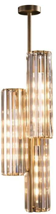 RV Astley Reagan Triple Pendant Light - Clear Crystal Glass and Antique Brass
