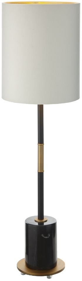 RV Astley Alix Antique Brass and Black Marble Table Lamp