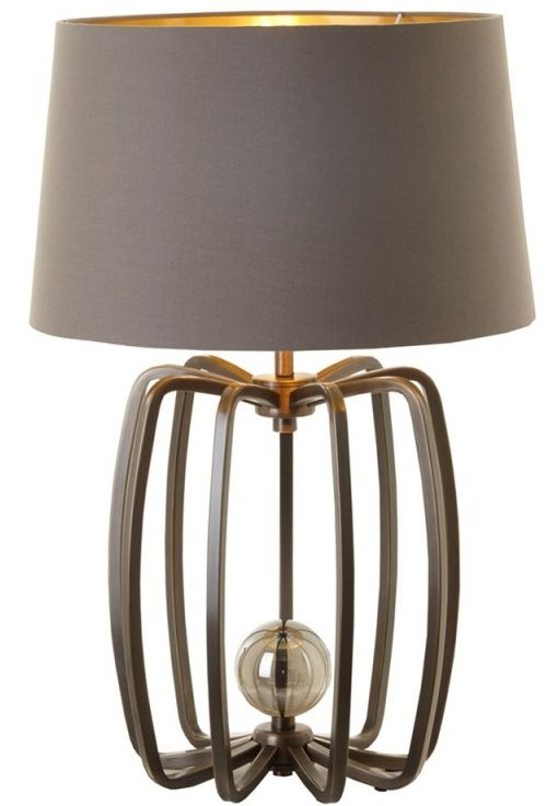 RV Astley Cage Small Table Lamp Base - Antique Brass and Crystal