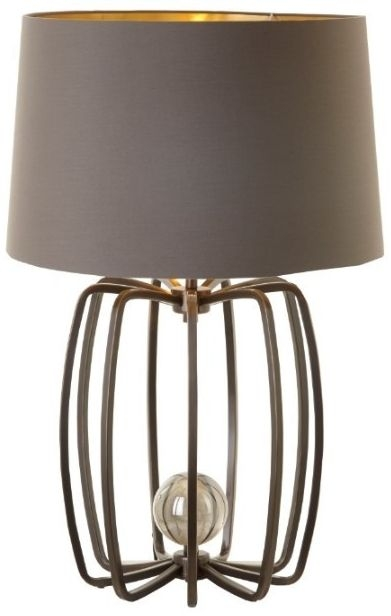 RV Astley Cage Table Lamp Base - Crystal and Antique Brass
