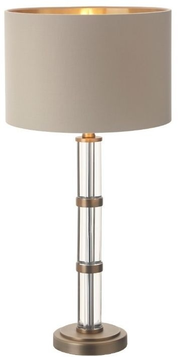 RV Astley Avebury Table Lamp - Antique Brass and Clear Crystal