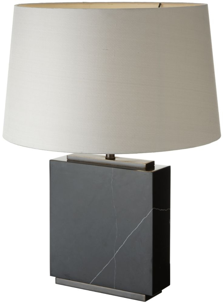 RV Astley Black Marble and Dark Antique Brass Table Lamp