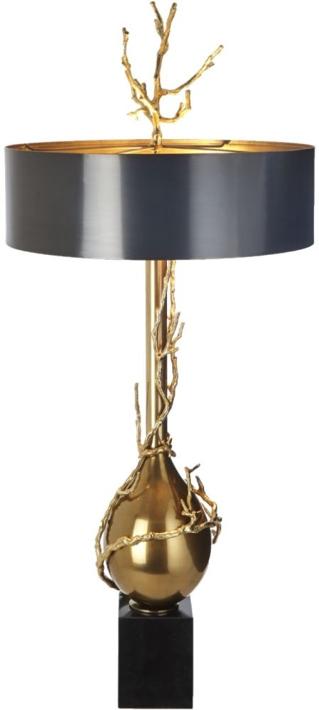 RV Astley Blake Antique Brass and Black Marble Table Lamp