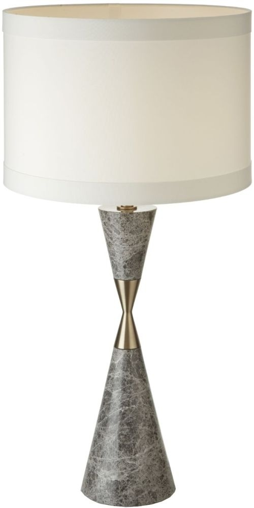 RV Astley Caius Grey Marble and Antique Brass Table Lamp