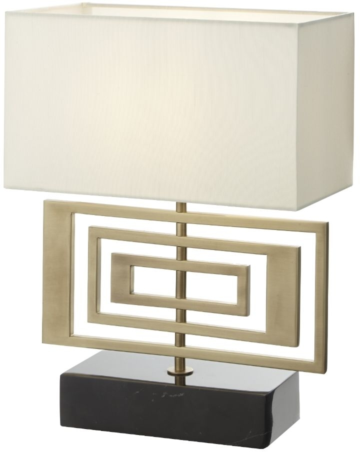 RV Astley Derry Table Lamp - Antique Brass and Black Marble