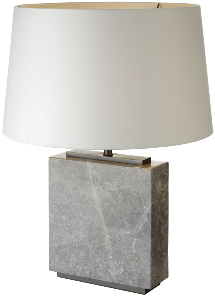 RV Astley Table Lamp - Grey Marble and Dark Antique Brass