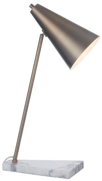 RV Astley Henley Desk Lamp - Antique Brass and White Marble