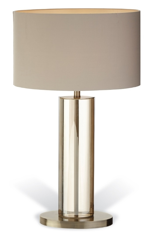 RV Astley Lisle Tall Table Lamp - Cognac Crystal and Antique Brass