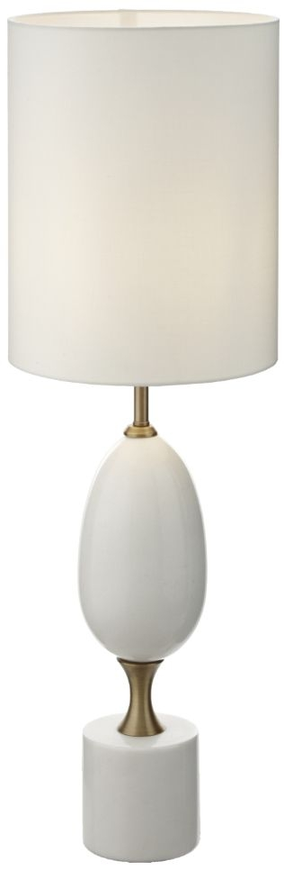 RV Astley Mariana Antique Brass and White Marble Table Lamp
