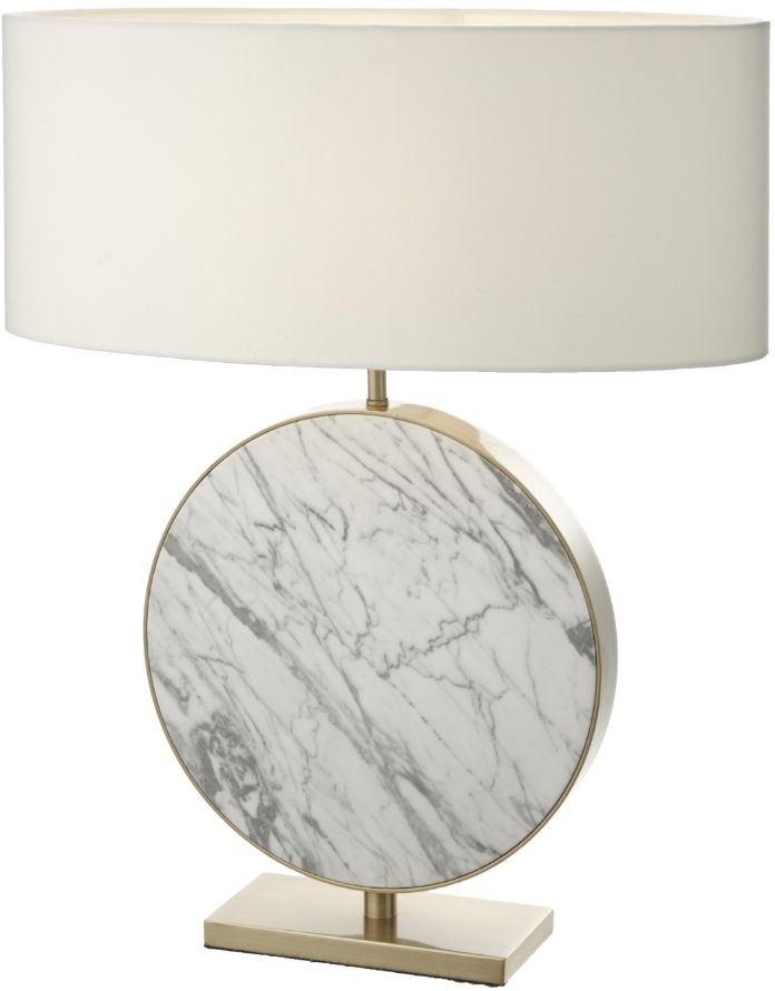 RV Astley Valery Bronze and White Marble Table Lamp
