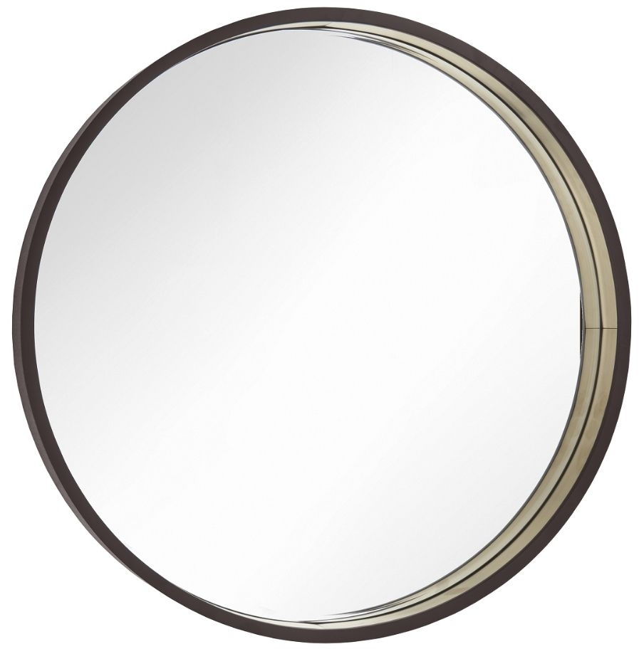 RV Astley Alyn Chocolate and Antique Brass Round Wall Mirror - 100cm