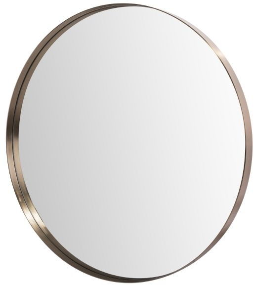 RV Astley Mably Soft Gold and Stainless Steel Round Wall Mirror - 88.9cm x 88.9cm