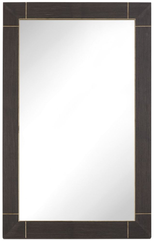 RV Astley Alpette Rectangular Mirror - Dark Brown and Brass Trim 65cm x 100cm