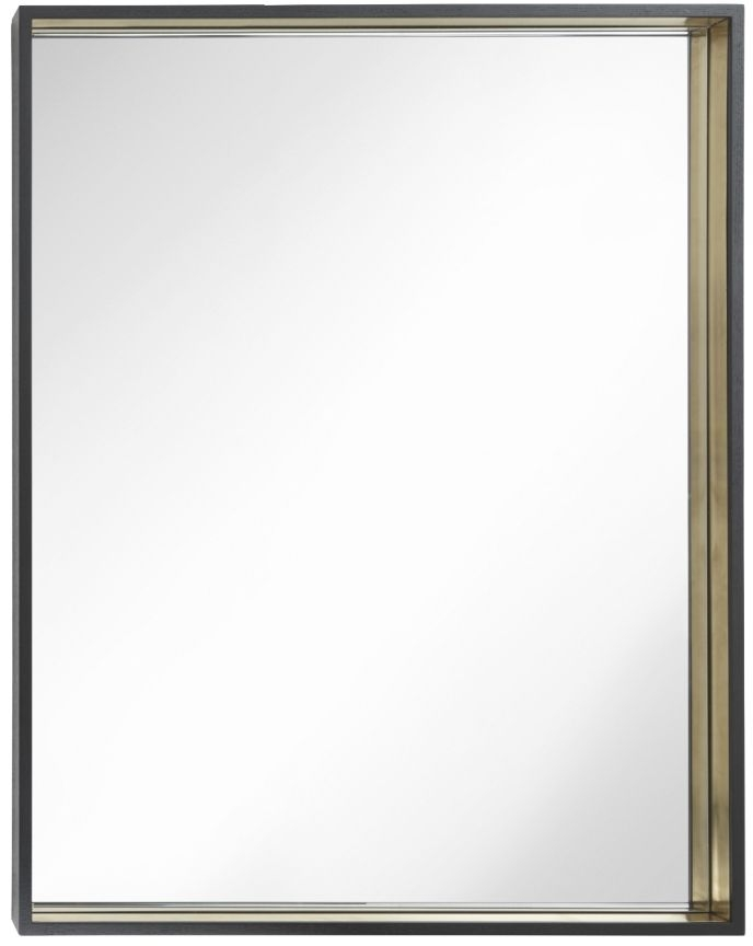 RV Astley Alyn Black and Brass Small Rectangular Mirror