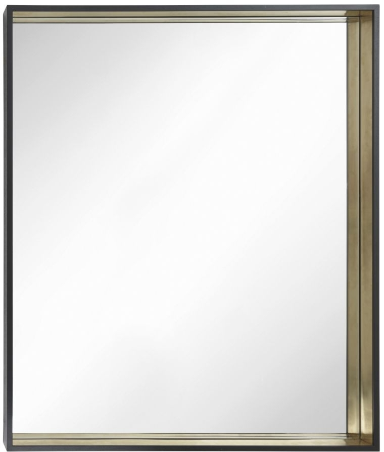 RV Astley Alyn Rectangular Mirror - Black and Brass Trim 100cm x 120cm