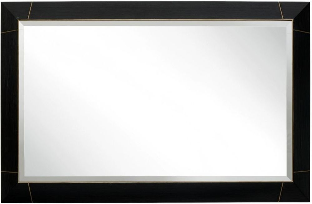 RV Astley Cambio Rectangular Mirror - Dark Brown and Brass Trim 100cm x 65cm