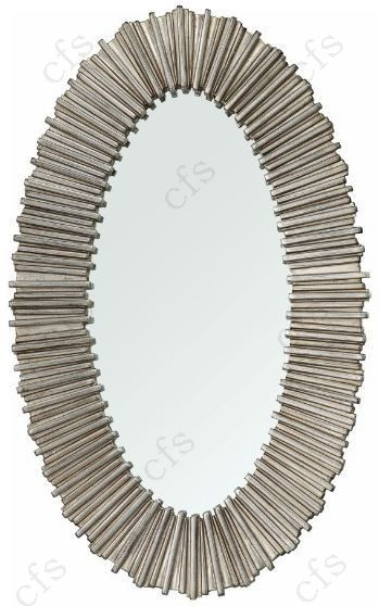 RV Astley Dagny Distressed Silver Oval Wall Mirror - 55cm x 91cm
