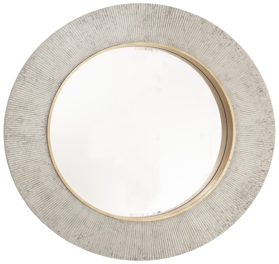 RV Astley Edvin Champagne Silver and Brass Wall Mirror - Round