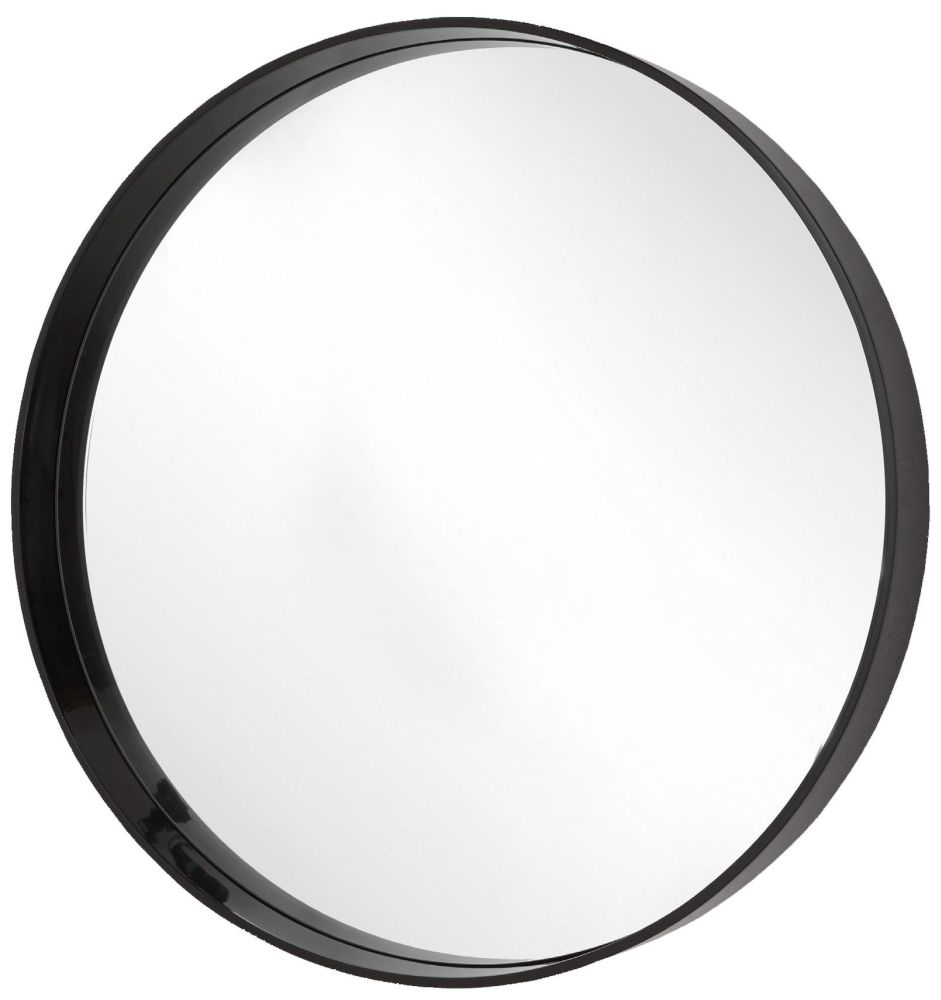 RV Astley Hearst Black Gloss Frame Round Large Mirror