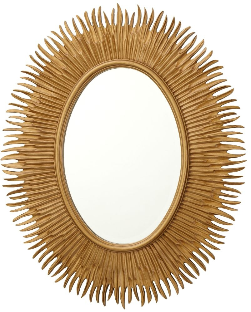 RV Astley Moher Antique Gold Painted Oval Mirror - 79cm x 97cm