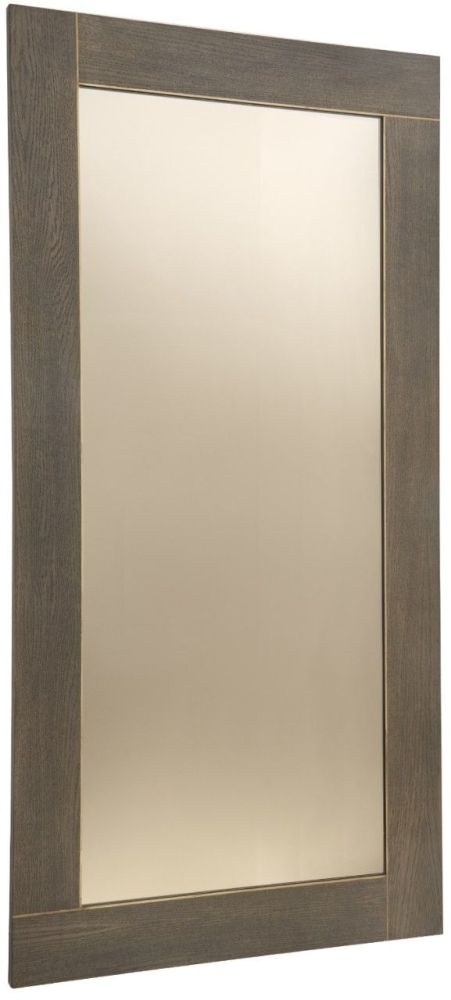 RV Astley Trent Rectangular Mirror - Dark Oak Brass and Bronze 70cm x 80cm