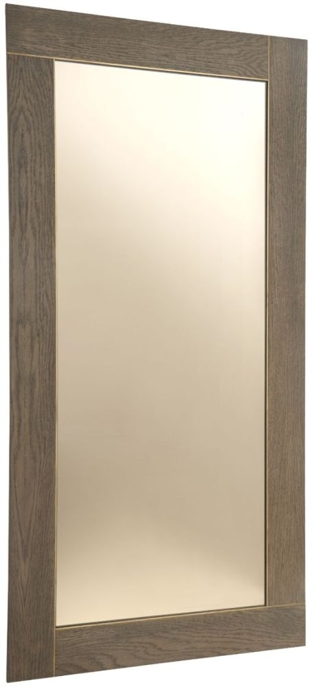 RV Astley Trent Dark Oak Rectangular Wall Mirror - Brass and Bronze 70cm x 140cm