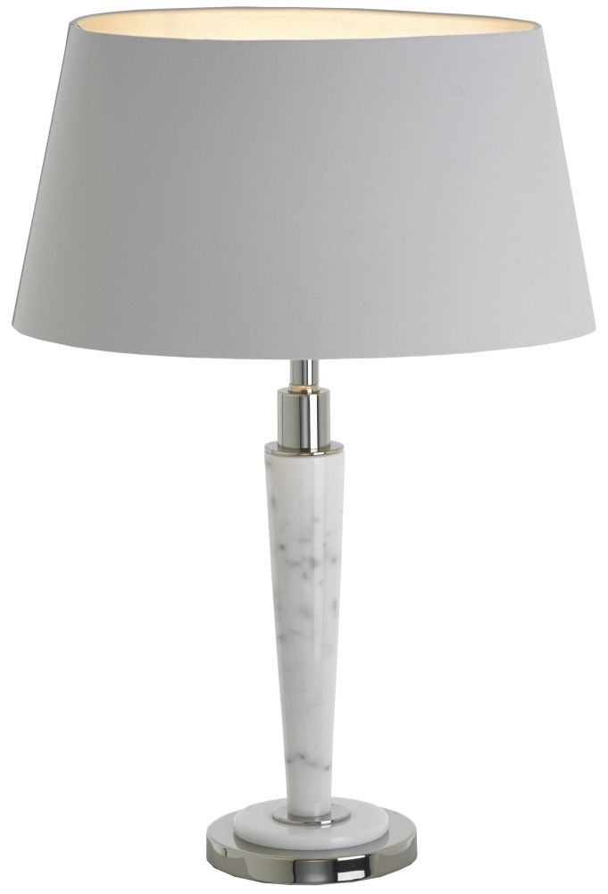RV Astley Abramo White Marble and Nickel Table Lamp