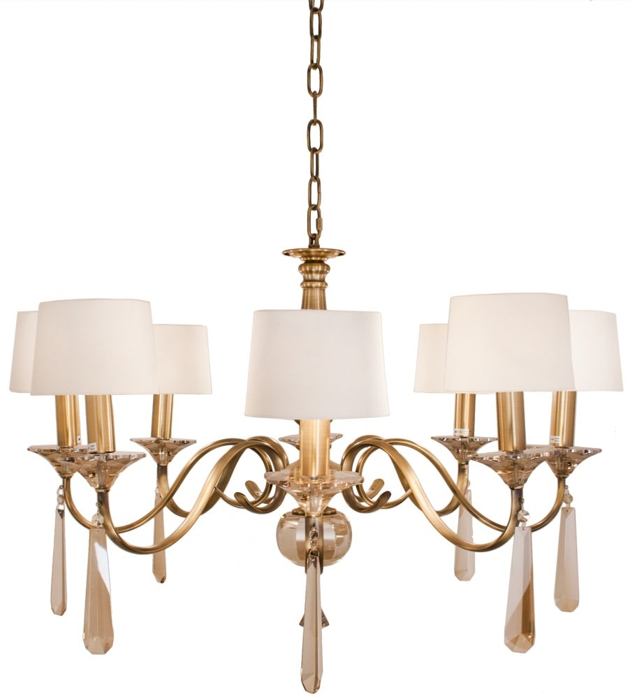 RV Astley Charon 8 Branch Antique Brass Chandelier
