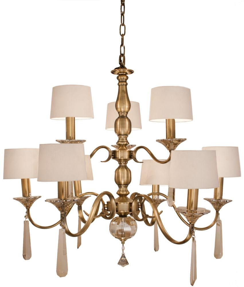 RV Astley Charon 9 Branch Antique Brass Chandelier